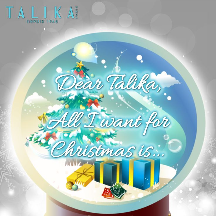 "ALL I WANT FOR XMAS IS........ Let Talika brighten your holidays! Tell us what is your most desired Talika product and why for a chance to win a special Talika gift! ""Dear Talika, all I want for Christmas is __________"" All you have to do is LIKE & Share the Page, fill in the blank, put in ‪#‎talikawishlist‬ tag and let us do the rest!"