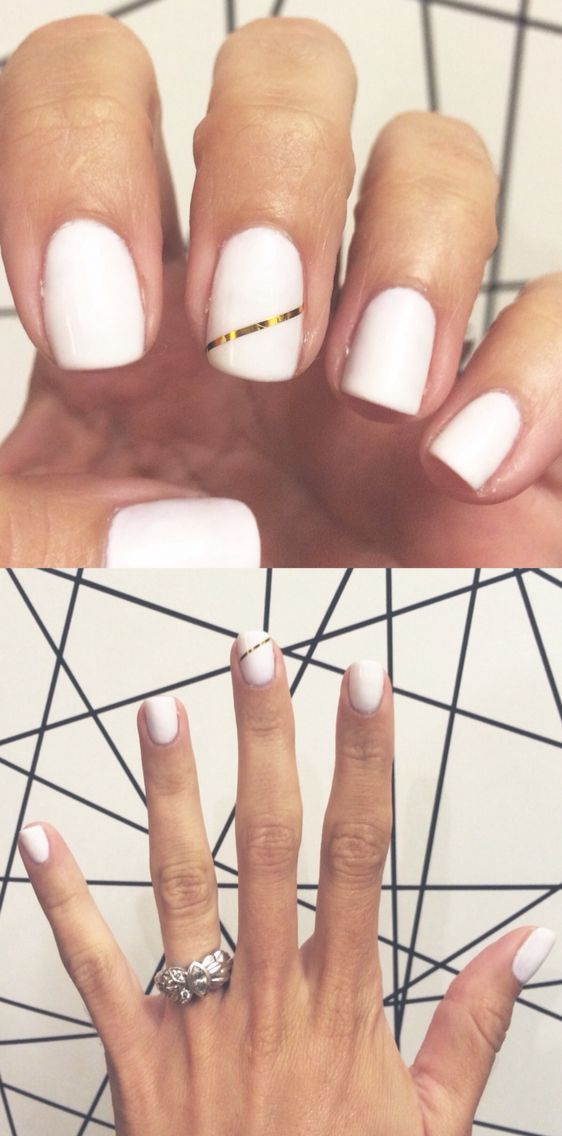 """I wanted to share my gel nails- modern & simple, white & gold. """"Stay True To The Art"""" white FingerPaints gel + gold striping tape"""
