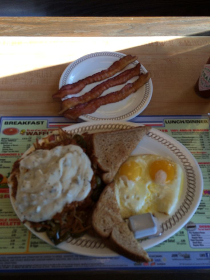 """Eggs Over Easy, Wheat Toast, Side Order of Bacon and Hash Browns """"All The Way"""" #WaffleHouse"""