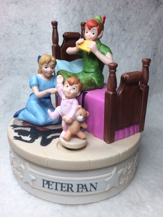 "The Disney Collection, Musical Memories ""Peter Pan"" Musical Figurine Music Box Designed The Walt Disney Artists Grolier on Etsy, $49.95"