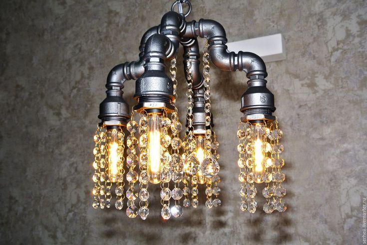 Купить Люстра S0003/4PL - хрустальные подвески, лофт, люстра ручной работы, подвесной светильник