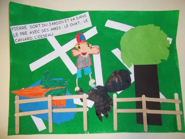 Voici notre réalisation, sur Pierre et le Loup, terminée. Celle-ci est accrochée telle une fresque dans la classe. L'oiseau : mosaïque...