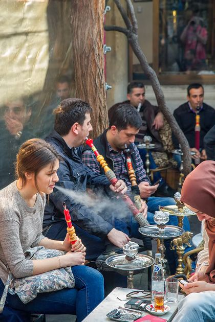 Smoking 'nargile', a traditional water pipe, is a typical local thing to do in Istanbul