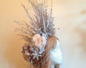 Frost Winter Goldkrone mit Zweig tiara von HippyPoppins auf Etsy