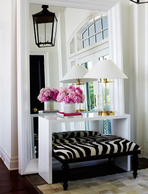 love the furniture in front of the mirror: Entry Way, Idea, Big Mirror, Consoles Tables, Floors Mirror, Large Mirror, Zebras Prints, Animal Prints, Entryway