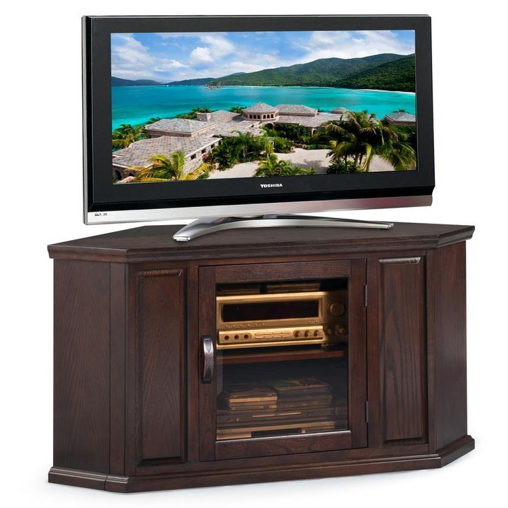 Introduce functionality and understated style to your living room or den when you bring home this corner TV console. This piece features a rich chocolate finish to enhance your decor and houses up to a 46-inch television.