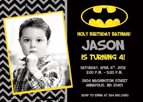 Batman Birthday Party Invitation - Digital Printable File | SleepingOwlCreations - Digital Art  on ArtFire
