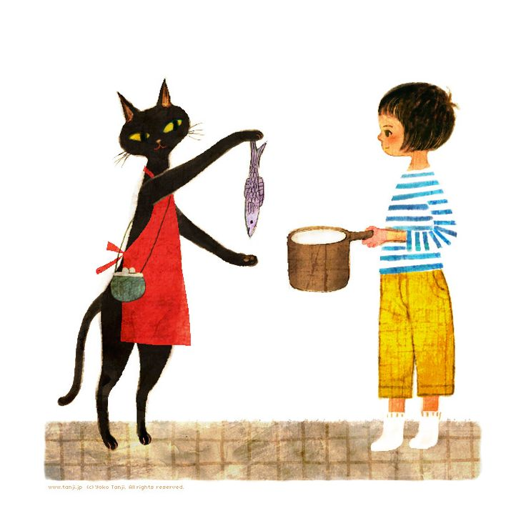 yoko yanjiFavorite Artists, Favorite Taste, Animal Art, Curious Art, Taniji Illustration, Animal Ilustration, Yoko Taniji, Cat Illustration, Black Cat