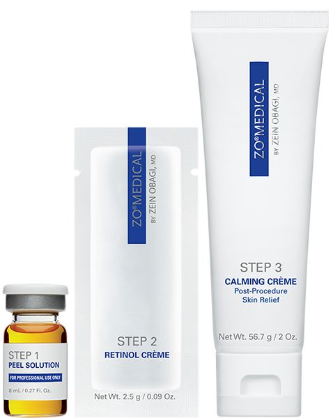 ZO® 3-Step Peel™ Designed for acne, melasma, sun damage, fine lines, texture roughness, large pores, dullness. Promoting softer, smoother skin with very mild peeling and minimal to no downtime. *HOW TO USE: STEP 1- PEEL SOLUTION  STEP 2- RETINOL CREME (6%) STEP 3- CALMING CREME POST-PROCEDURE SKIN RELIEF