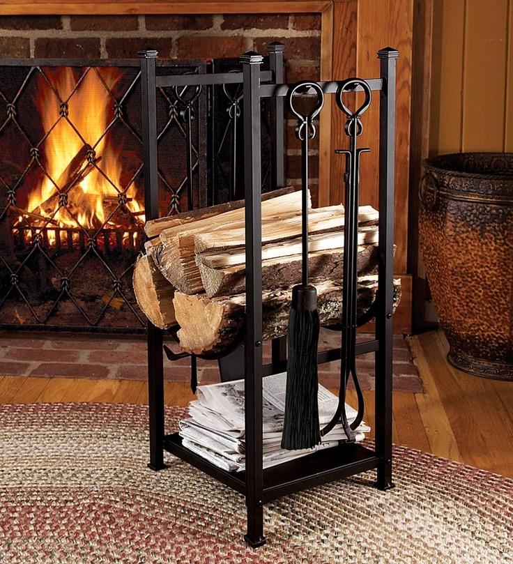 Log Bin With Fireplace Tools Firewood Rack Plow Hearth