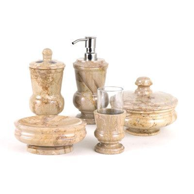 Nature Home Decor Mediterranean 5 Piece Sahara Marble Bathroom Accessory Set