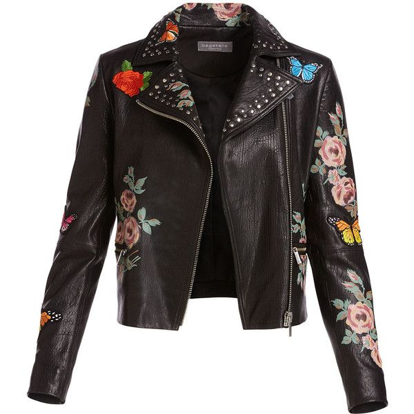 Neiman Marcus Painted Floral Leather Jacket w/ Embroidered Patches (1.815 BRL) ❤ liked on Polyvore featuring outerwear, jackets, coats & jackets, coats, leather moto jacket, cropped jacket, slim fit leather jacket, patch jacket and leather motorcycle jacket