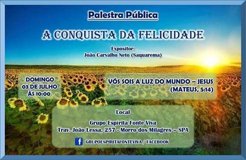 Grupo Espírita Fonte Viva Convida para a sua Palestra Pública - São Pedro da Aldeia - RJ - http://www.agendaespiritabrasil.com.br/2016/07/02/grupo-espirita-fonte-viva-convida-para-sua-palestra-publica-sao-pedro-da-aldeia-rj-2/