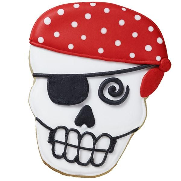Skeleton Crew Cookies - This pirate is decked out with a polka dot bandana in bright red and white color flow icing. Create the fun shape with our Skull Comfort-Grip Cutter.