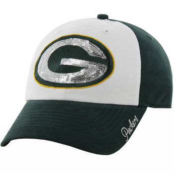 Green Bay Packers Women's Sparkle Slouch Cap-YES PLZ
