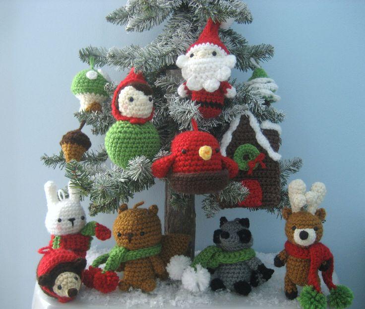 Amigurumi Woodland Christmas Ornament Crochet Pattern Set PDF via Etsy
