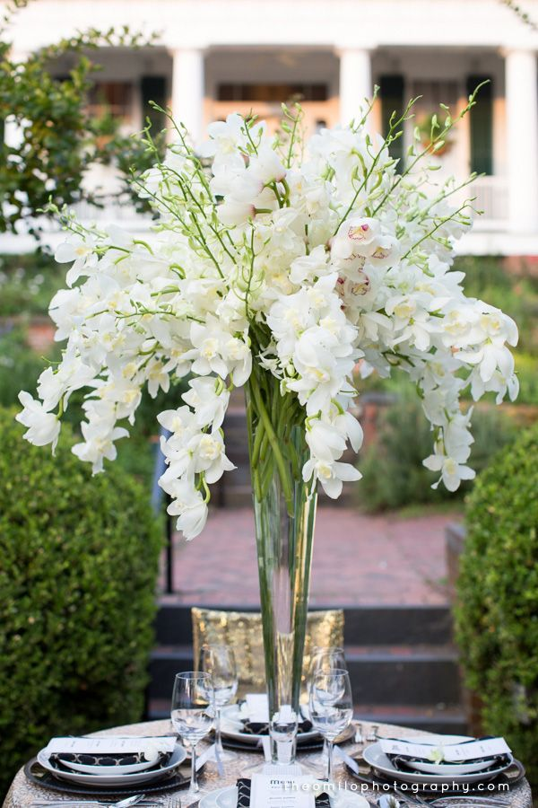 Orchid Centerpiece for a Great Gatsby themed wedding. Theo Milo Photography