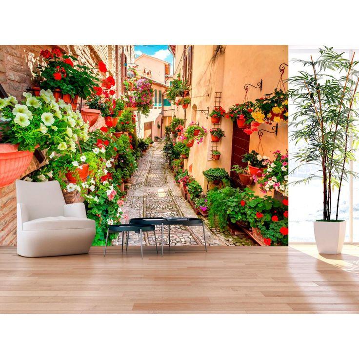 Dekoracja ścienna z kolorowym, włoskim pejzażem wprowadzi do Twojego wnętrza nieco śródziemnomorskiego klimatu <3  #fototapety #fototapeta #pejzaże #włoskieuliczki #kwiaty #klimatśródziemnomorski #dekoracjeścienne #wnętrze #dekoracjedosalonu #dekoracjedojadalni #artgeist