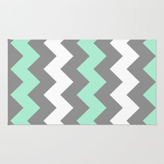 Mint White Grey Chevron Rug by CreativeAngel - $28.00