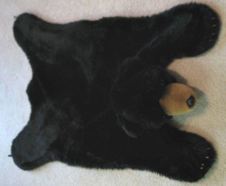 Delightful Plush Black Bear Skin Rug Faux Fur   Kids Room Decor