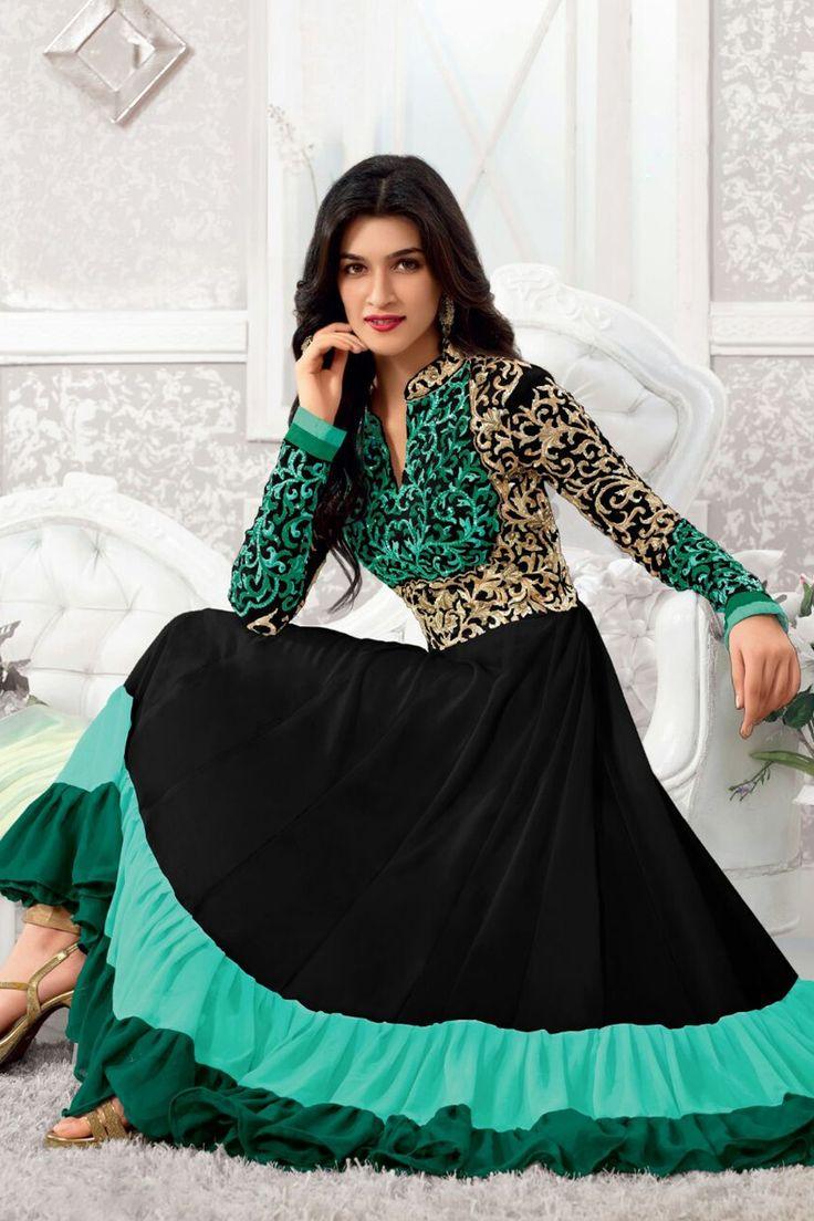 Resplendent Black and Green Anarkali Dress Material- 30% #Discount #Eid #EidSpecial #Anarkali #DressMaterial