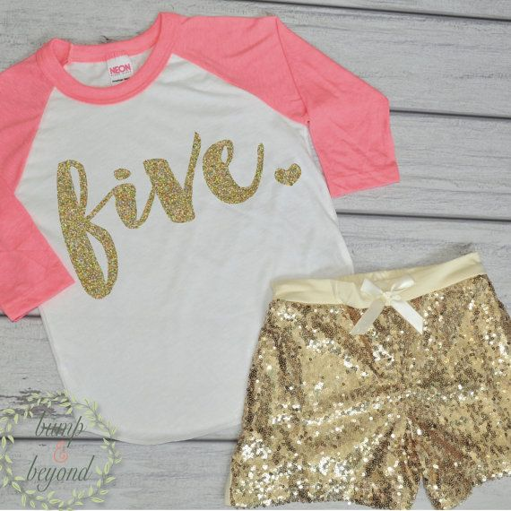 5 Year Old Birthday Shirts 5th Birthday Shirt Outfit Set with Shorts Trendy Toddler Girl Gold Five Outfit Gold Sequin Shorts American Apparel Raglan Set by BumpAndBeyondDesigns