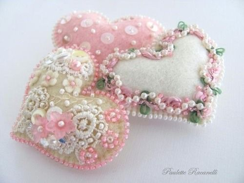 Lovely beaded hearts
