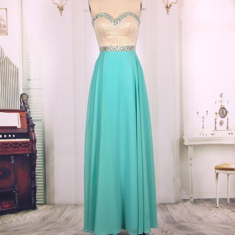 2016 Cheap A line Sweetheart Chiffon Beaded Long Turquoise Prom Dresses Gown,Formal Evening Dresses, Homecoming Party Dresses