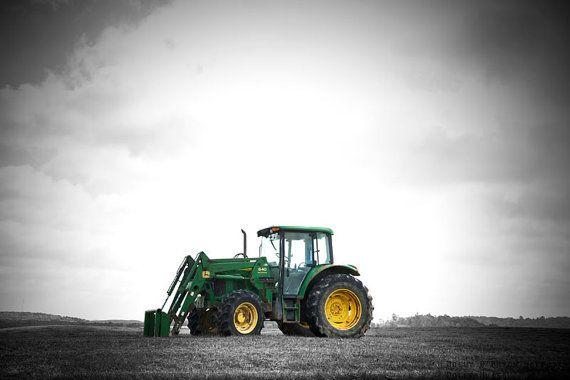 John Deere Green Tractor Art Print, Black and White Photography, Boys Bedroom Decor, Farm Photo, Country Home Decor, Farmhouse Photograph #MollysMuses