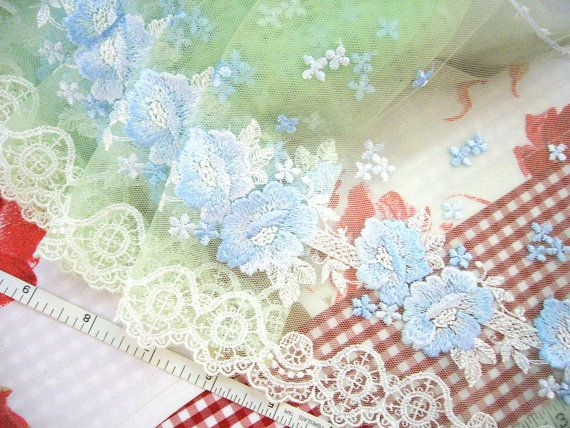 Green lace Embroidered lace Tulle trim Net lace by raincrazy133, $7.99