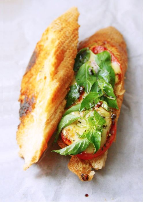 caprese bagette sandwich: Food, Recipes, Grilled Caprese, Yummy, Photo