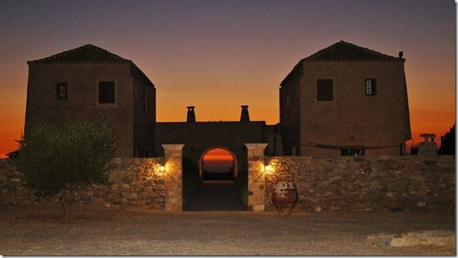 The guesthouse entrance at sunset