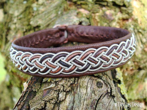 Swedish Sami Bracelet FREKE Lapland Viking Leather Bracelet in Antique Brown Reindeer Leather - Handcrafted Natural Tribal Elegance from Tjekijas Design.