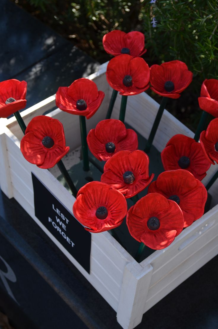 Hand made clay poppies donated to Ryde Library as part of the 2,000 Poppy Project.