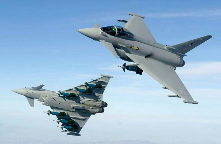 Two RAF FGR4 Typhoons from 11 Squadron.