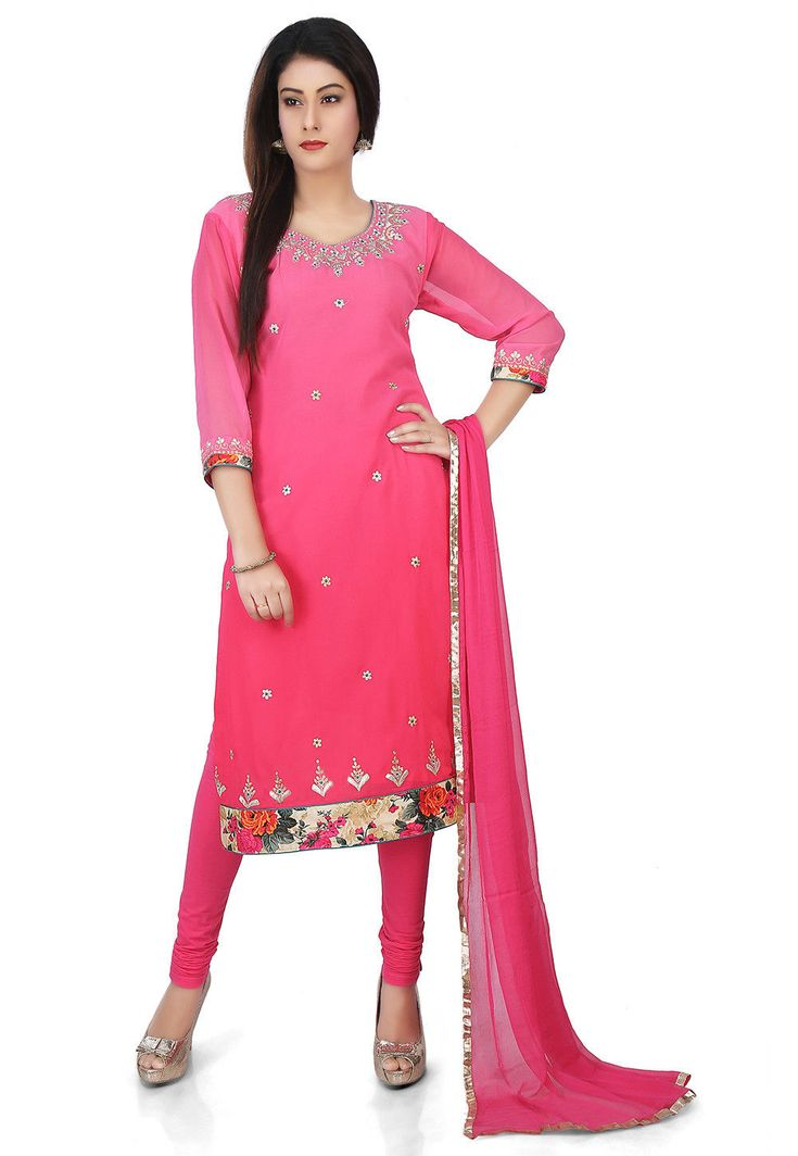 Faux Georgette Straight Suit in Pink Ombre This Readymade attire with Cotton Lining is Emblazoned with Zari and Patch Border Work and is Crafted in Round Neck and Quarter Sleeves Available with a Lycra Legging in Pink and a Faux Chiffon Dupatta in Pink The Lengths of the Kameez and Bottom are 44 and 48 inches respectively Do note: Accessories shown in the image are for presentation purposes only and length may vary upto 2 inches