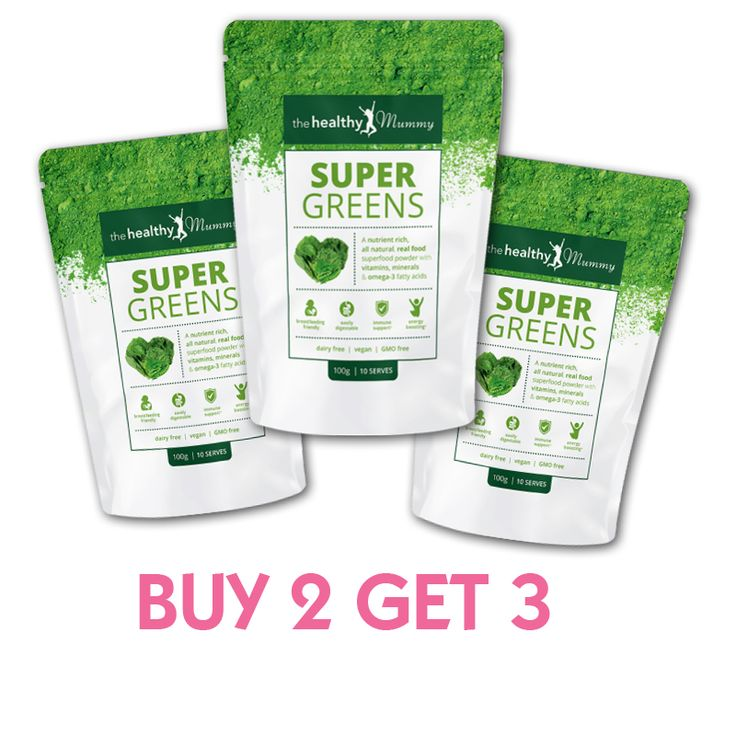 BUY 2 and GET 3: Healthy Mummy Energy Boosting Super Greens  Specifically designed for busy mums, the Healthy Mummy SUPER GREENS Powder vitamin supplement is here to help boost your energy and support your immune system.  The power-packed powder contains over 37 whole food ingredients in an easily digestible & nutritional formula, combining real food sources to deliver a powerful blend of nutrients to help give tired mums the energy they need. They're also safe for use in breastfeeding.