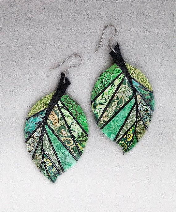 MADE-TO-ORDER - Paper Mosaic Earrings - Upcycled Earrings - Recycled - Leaf Earrings - Wearable Art - Any Color Choice