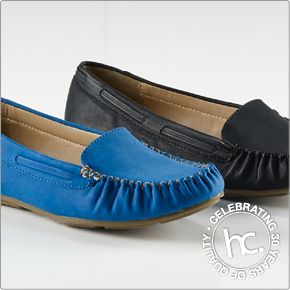 Get comfy with the Marika loafers. Available in sizes 4-8 in black, blue and taupe