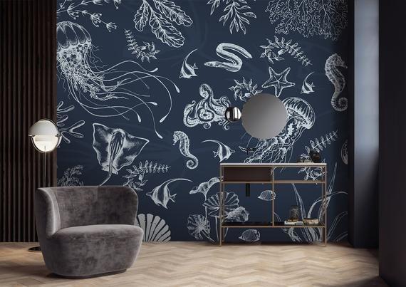 Animal Wallpaper Self Adhesive Peel And Stick Removable Etsy Wall Murals Bedroom Sea Life Wallpaper Wall Murals