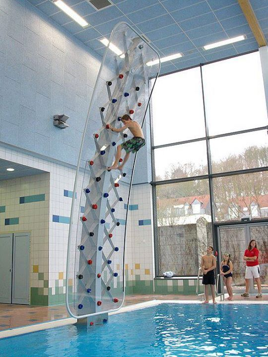 Rock wall above pool (As long as it's at least 12ft deep!)
