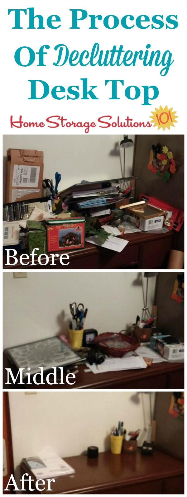 Progression from beginning to the end of the decluttering process when clearing of desk top, sent in by a reader Karen {featured on Home Storage Solutions 101}