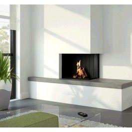 De #KombiFire Original Corner is een authentieke hoekhaard waar u vanaf de zijkant sfeervol naar het vuurbeeld kunt kijken. De KombiFire is de enige haard die zowel op hout en gas kan branden. #Gaskachel #Gashaard #Houtkachel #Houthaard #Kampen #Fireplace #Fireplaces #Interieur