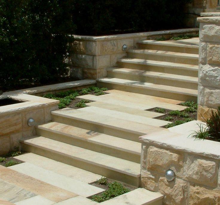 Sandstone step treads and sandstone pavers