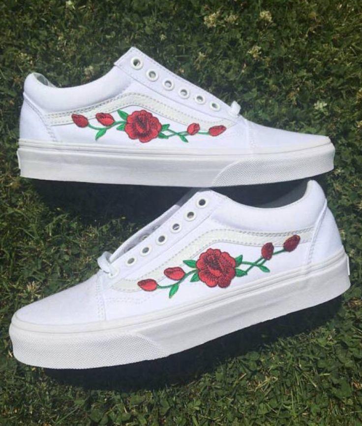 Weiße Vans Old Skool Custom Rose bestickte Schuhe Vans Rose