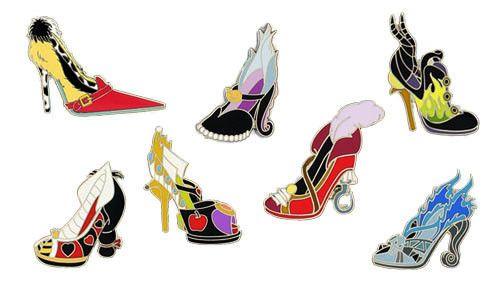Disney Pin - Designer Shoe Villains Set (Cruella de Vil, Ursula, Maleficent, the Queen of Hearts, the Evil Queen, Captain Hook, Hades)