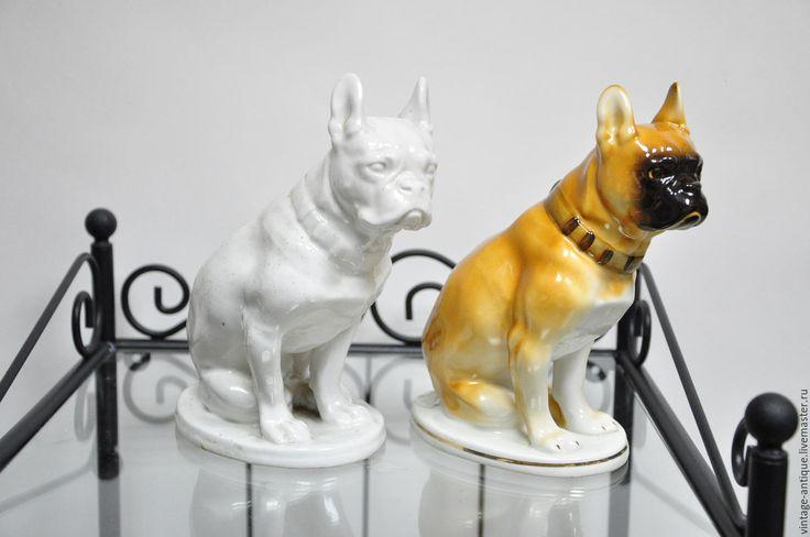 Купить Фарфоровая статуэтка французский бульдог ЛФЗ - предмет старины, антиквариат, винтаж, старинный, коричневый