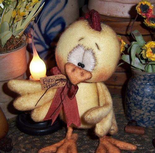 """Primitive Rooster Hen Chicken Bird Fuzzy 6"""" Bear Doll Vtg Patti's Ratties Ornie"""