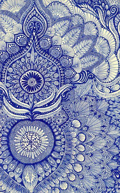 Simply-Boho blue pattern paisley zentangle