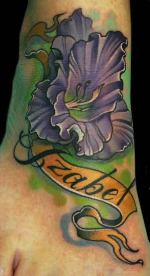Dark Purple Ink Wonderful Gladiolus Flowers Tattoo | Tattoobite.com